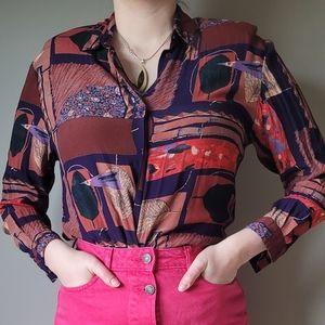 Vintage Louben purple abstract leaf print blouse